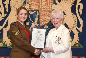 Cadet Sergeant Ellen Rea pictured with Mrs Joan Christie, Her Majesty's Lord Lieutenant for the County of Antrim.
