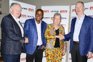 Michael Maguire, East African director at Devenish with Sidai MD Anthony Wainaina, its founder and director Dr Christie Peacock CBE and Devenish chairman Owen Brennan during a recent visit by the firm to Kenya