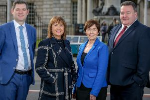 Chris Morrow head of policy at NI Chamber with chief executive Ann McGregor, Maureen O'Reilly economist for the QES and Brian Murphy managing partner at BDO