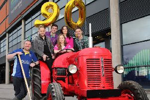 Peter Alexander, Glarryford YFC, Derek Ryan, Headline Artist, Andrew Patton, Newtownards YFC, Zeita McNaugher, Deputy President of YFCU, Corrina Fleming, Officer YFCU, Johnny Brady, Country Singer at the launch of the Young Farmers Club's 90th Anniversary which is part of this year's Farmers Bash at the SSE Arena. Also included on the bill are Mike Denver, Cliona Hagan, The Wurzels and Steve 'N' Seagulls. . Picture: Cliff Donaldson
