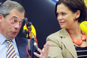 Sinn F�in's Mary Lou McDonald and the then Ukip leader Nigel Farage on the same side of the 2009 Lisbon Treaty debate. Photo: BBC Spotlight
