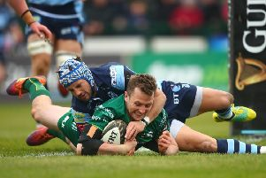 Connacht's Jack Carty scores a try despite Matthew Morgan of Cardiff Blues