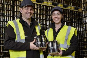 Graeme Pollock and Mary Devlin at Diageo's packaging facility in Belfast