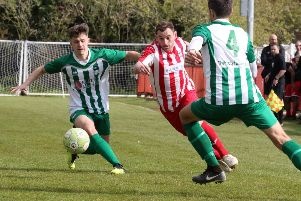 Joe Coleman goes on the attack for Easington Sports against Almondsbury. Photo: Steve Prouse