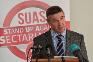 Senator Ian Marshall at the launch of Sinn Fein's anti- sectarianism policy in the Houben Centre in 2018. Photo: Colm Lenaghan/Pacemaker