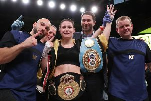 WBA/IBF lightweight champion Katie Taylor after winning her bout at the Liacouras Center in Philadelphia.   Picture by Ed Mulholland/Matchroom Boxing USA