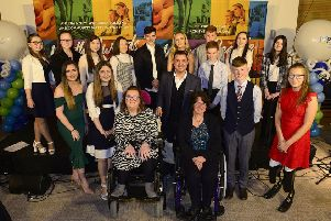Pete Snodden is pictured with those who were shortlisted for this year's Antrim and Newtownabbey PCSP Youth Awards.