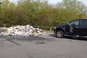 The rubbish on Fairford Leys after an Aylesbury Vale District Council vehicle caught fire