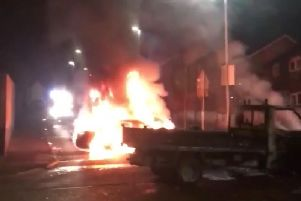 An image from the riot, close to where the woman was shot dead.