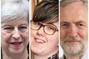 From left to right, Prime Minister, Theresa May, murdered journalist, Lyra McKee and Labour Party leader, Jeremy Corbyn.