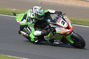 Glenn Irwin on the Quattro Plant JG Speedfit Kawasaki at Silverstone. Picture: David Yeomans.