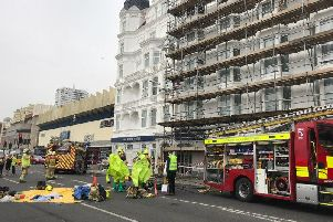 The fire service was called to the Brighton hotel after a gas alarm sounded