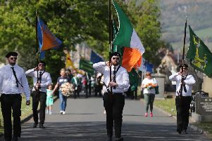 Saoradh at Milltown cemetery in Belfast. The group paraded in Dublin city centre the day before. Dr McGarry asks: Can you imagine 48 hours after the Christchurch mosque shootings 150 white racists in combat fatigues parading through Auckland?