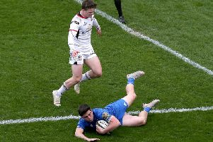 Leinster's Jimmy O'Brien scores a try against Ulster