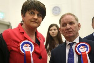 DUP peer Lord Morrow pictured with party leader Arlene Foster