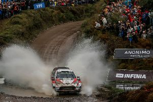 British driver Kris Meeke steers his Toyota Yaris WRC with his compatriot co-driver Sebastian Marshal during the ss4 of the WRC Argentina 2019 near Santa Rosa de Calamuchita