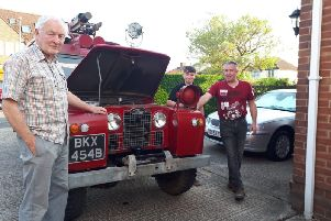 Lees, Austin and Adrian Fell with the former HWV fire engine