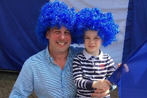 Club sponsor Lexie Beatty and his son Thomas, 4, are looking forward to the cup final.