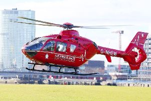 The Air Ambulance Northern Ireland was tasked to the scene of the incident on Monday.