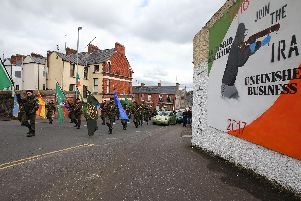 Republicans take part in the Saoradh National Easter Commemoration in Londonderry in 2017. (Photo: Presseye)