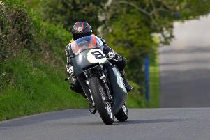 Guy Martin on his BSA Rocket classic machine in practice at the Tandragee 100 on Friday. Picture: Pacemaker Press.