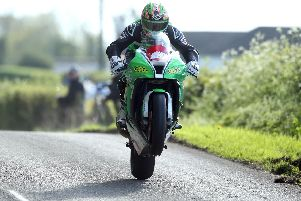 Derek McGee on the NJ Doyne Kawasaki during Superbike practice at the Tandragee 100. Picture: Stephen Davison/Pacemaker Press.