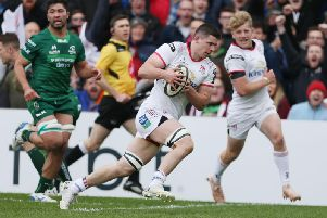 Ulster backrow forward Nicky Timoney goes over for a try against Connacht