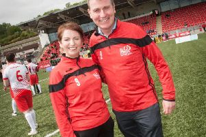 Republic of Ireland under-21 manager Stephen Kenny pictured with Orla Ward, ONeills (sponsors), at the Brandywell on Sunday when he managed Derry City FC in the Ryan McBride Soccer Sixes.