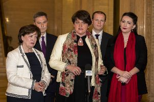 DUP leader Arlene Foster (centre) with party colleagues (from left) Diane Dodds, Paul Frew, Gordon Lyons, and Emma Little-Pengelly speaking to the media in Stormont's Great Hall
