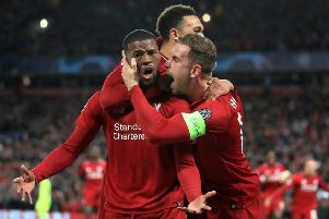 Liverpool's Georginio Wijnaldum celebrates scoring his side's third goal of the game during the UEFA Champions League Semi Final, second leg match at Anfield, Liverpool. PRESS ASSOCIATION Photo. Picture date: Tuesday May 7, 2019. See PA story SOCCER Liverpool. Photo credit should read: Peter Byrne/PA Wire.