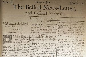 The front page of the Belfast News Letter of April 27 1739 (which is May 8 in the modern calendar)