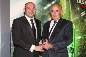 Rory Best receives the Heineken Ulster Rugby Personality of the Year Award from Pat Maher representing Heineken
