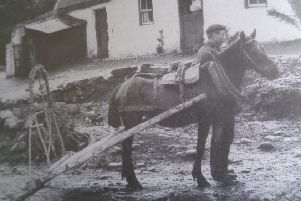 The �slipe� was a cart without wheels, once common in the Glens of Antrim. James Stoddard Moore would have been familiar with them