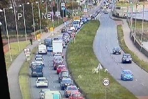 Travel disruption on the A2 Belfast Road. Pic courtesy of Department for Infrastructure.