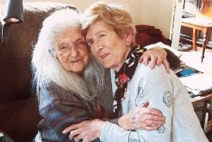 Eileen Macken (right) with her 103-year-old mother Elizabeth who she has met for the first time. Pic: Liveline on RTE Radio 1/PA Wire