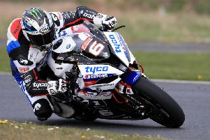 Michael Dunlop during a pre-season test session at Kirkistown on the Tyco BMW. Picture: Pacemaker Press.
