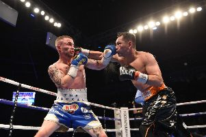 Nonito Donaire (right) in action with Carl Frampton