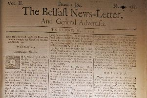 The front page of the Belfast News Letter of May 1 1739 (May 12 in the modern calendar)