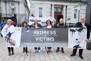 Campaigners for historical institutional abuse outside the High Court in Belfast last September ahead of a challenge to the secretary of state for Northern Ireland