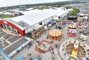 An aerial view of the Eikon Centre at the Maze on the first day of the Balmoral Show