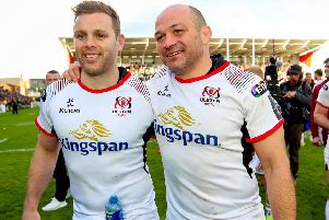 Guinness PRO14 Quarter-Final, Kingspan Stadium, Belfast 4/5/2019'Ulster vs Connacht'Ulster's Darren Cave with Rory Best after the game'Mandatory Credit �INPHO/Tommy Dickson