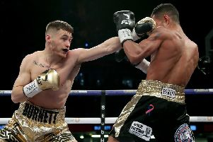 Ryan Burnett (left) won at the Ulster Hall last night after recovering from a back injury
