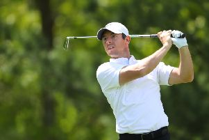 Rory McIlroy of Northern Ireland  plays a shot from the eighth tee during the PGA Championship