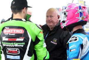 North West 200 Event Director Mervyn Whyte with James Hillier (left) and Lee Johnston on Saturday.
