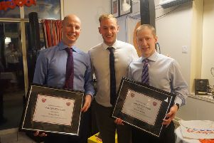 Godfrey Irwin (left) and Andrew Barbour are honoured by the club with a commemoration of special long service to Cookstown Hockey Club after 25 years playing for the First XI. They are pictured with David Ames