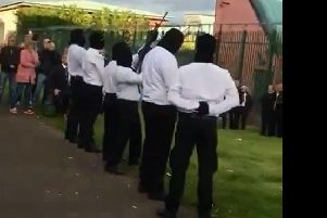 The INLA display in west Belfast in tribute to Martin McElkerney