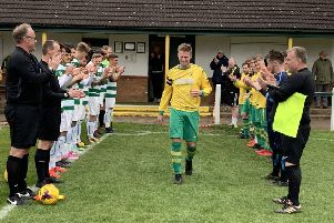 Guard of honour for Michael Stevenson at the beginning of his final game EMN-190522-144710002