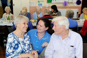 Bluebird care assistant Tara Craig with Brenda Loader and her partner Jim Moore.'Picture: Sarah Standing (210519-9798)