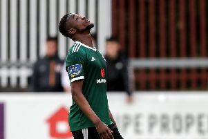 Derry City striker, Junior Ogedi-Uzokwe looks to the sky in despair after missing a free header against St Pat's.