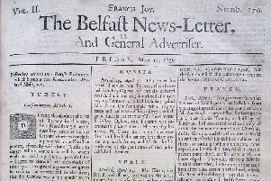 The front page of the Belfast News Letter of May 11 1739 (which is May 22 in the modern calendar)